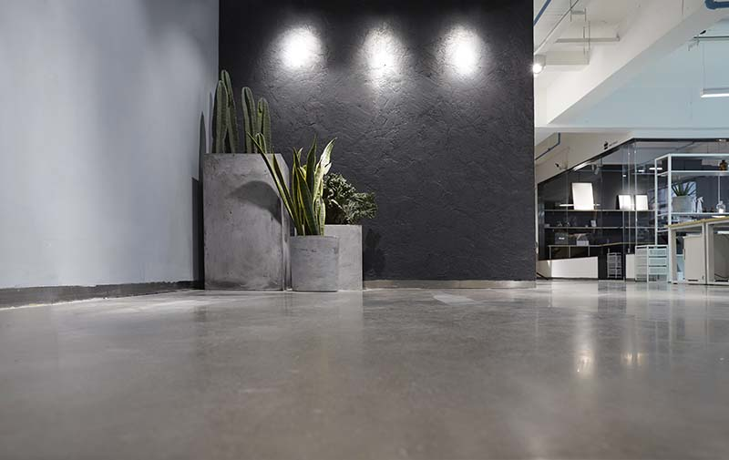 modern office with concrete floor